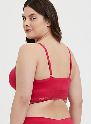Plus Size Fuchsia Pink Seamless Lightly Padded Bralette, , alternate