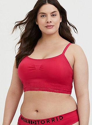 Plus Size Fuchsia Pink Seamless Lightly Padded Bralette, , hi-res