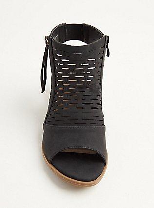 Plus Size Black Perforated Cutout Bootie (WW), BLACK, alternate