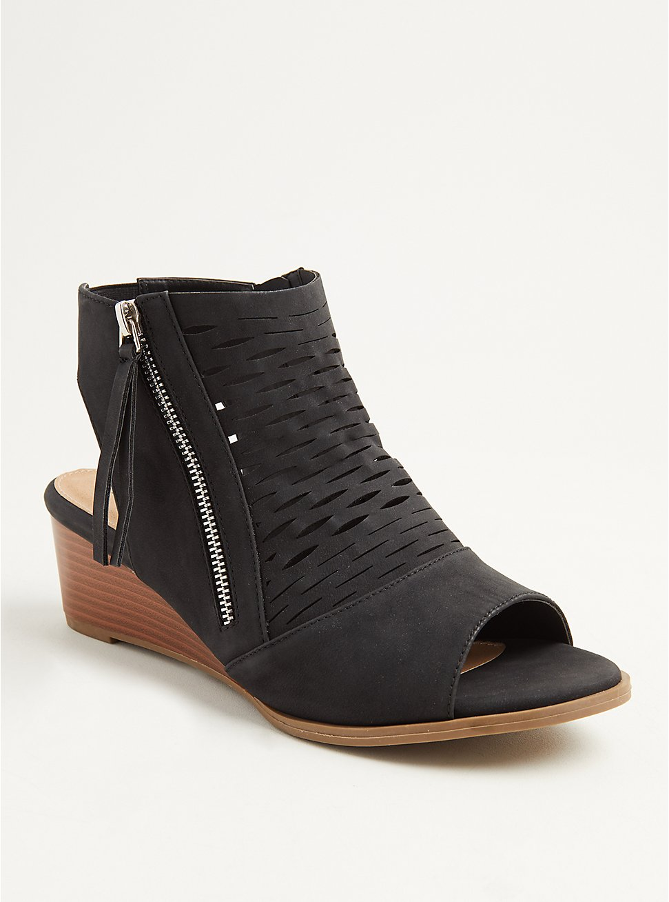 Black Perforated Cutout Bootie (WW), BLACK, hi-res