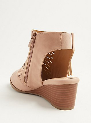 Blush Pink Faux Leather Perforated Wedge Bootie (WW), BLUSH, alternate