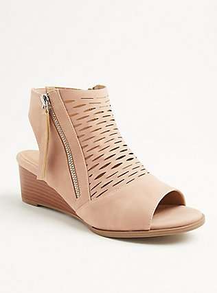 Blush Pink Faux Leather Perforated Wedge Bootie (WW), BLUSH, hi-res