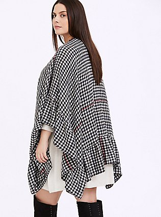 Black Gingham & Red Stripe Ruffle Ruana, , alternate