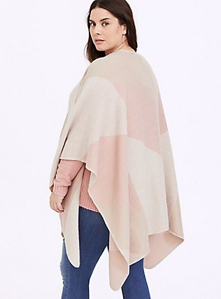 Blush Pink & Tan Colorblock Ruana, , alternate