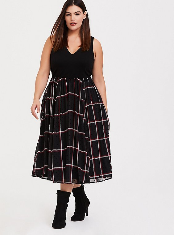 Black Ponte & Red Plaid Chiffon Flocked Dots Midi Dress, , hi-res