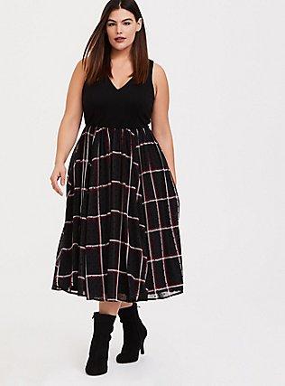 Black Ponte & Red Plaid Chiffon Flocked Dots Midi Dress, PLAID - BLACK, hi-res