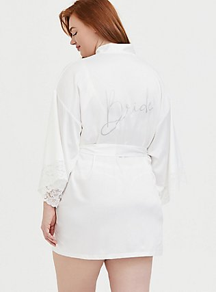 Plus Size Bride White Satin & Lace Robe, CLOUD DANCER, alternate