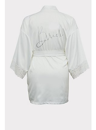 Bride White Satin & Lace Robe, CLOUD DANCER, flat