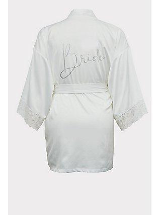 Plus Size Bride White Satin & Lace Robe, CLOUD DANCER, flat