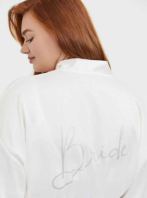 Plus Size Bride White Satin & Lace Robe, , hi-res