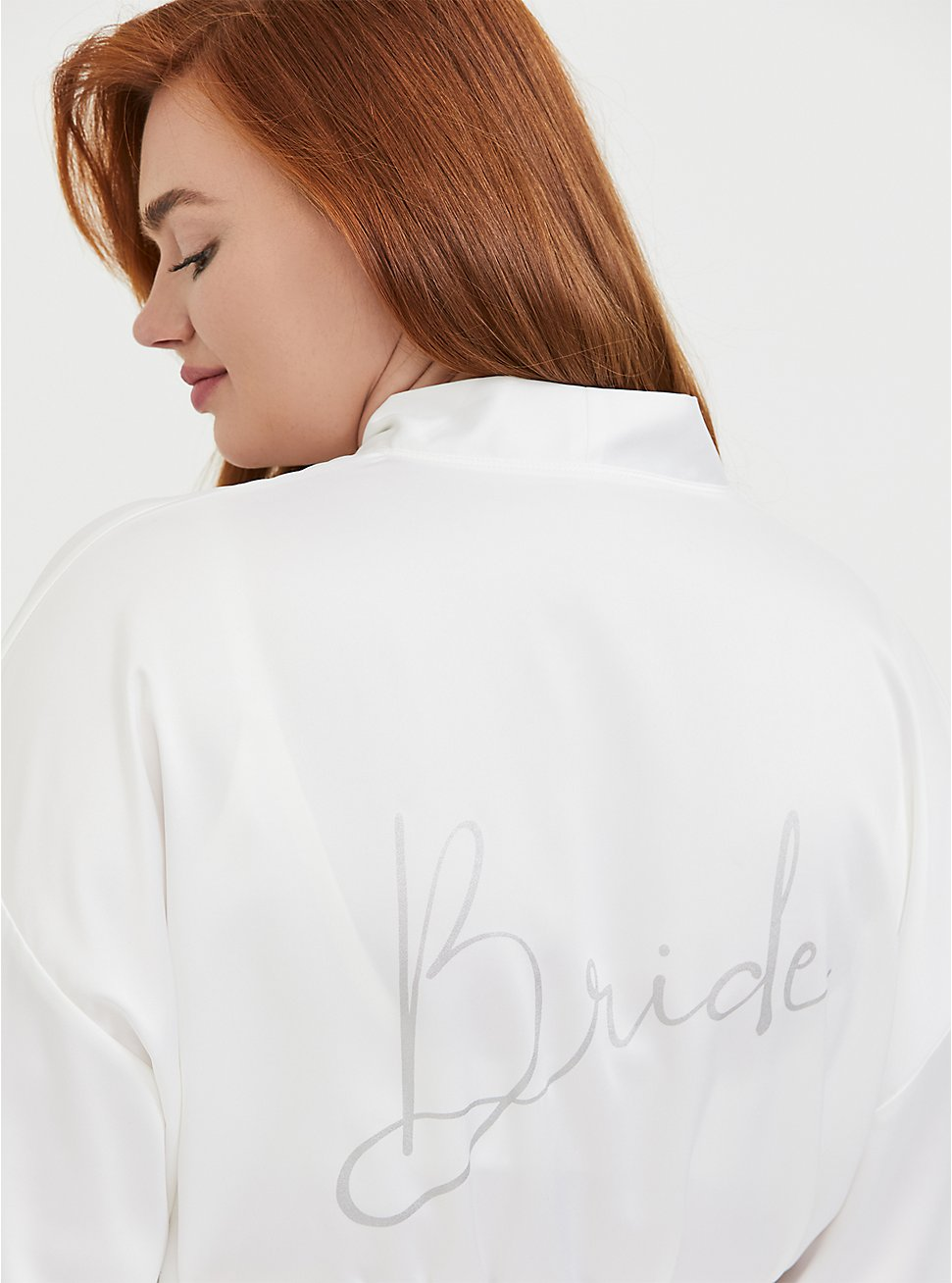 Plus Size Bride White Satin & Lace Robe, CLOUD DANCER, hi-res