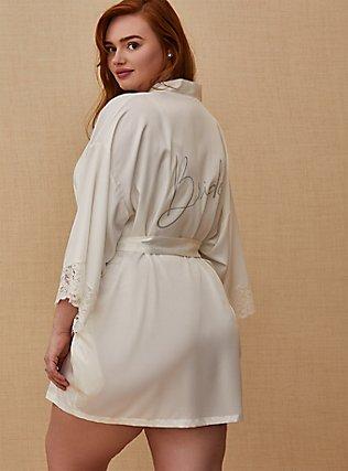 Plus Size Bride White Satin & Lace Robe, CLOUD DANCER, pdped