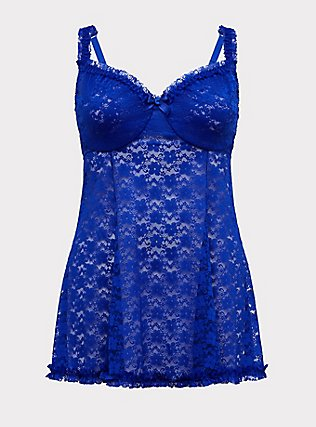 Electric Blue Lace Underwire Babydoll, , flat