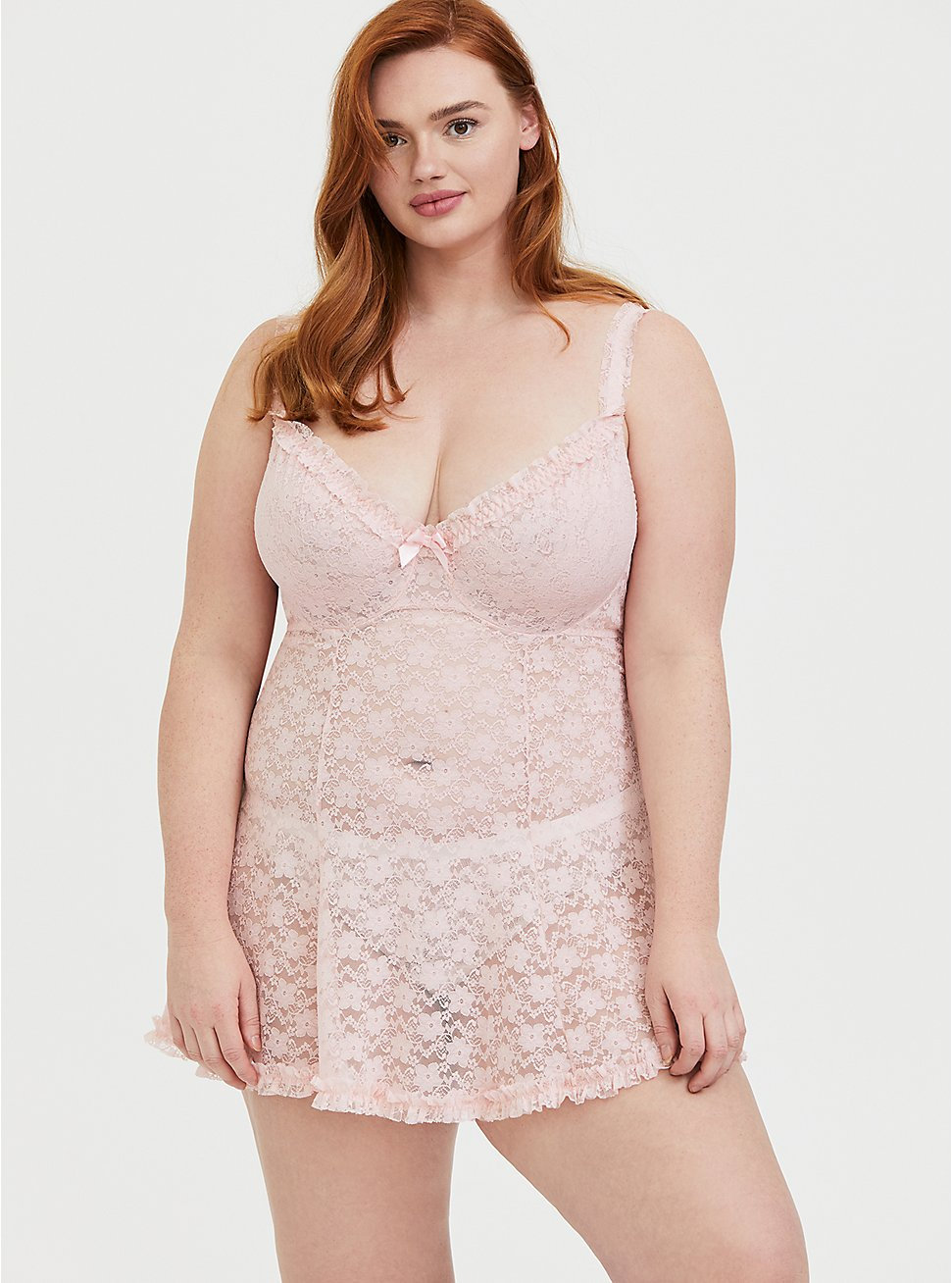 Light Pink Lace Underwire Babydoll, , hi-res