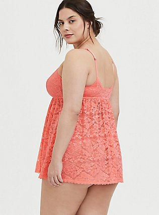 Plus Size Coral Lace Babydoll, , alternate