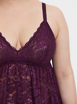 Grape Purple Lace Babydoll, , alternate