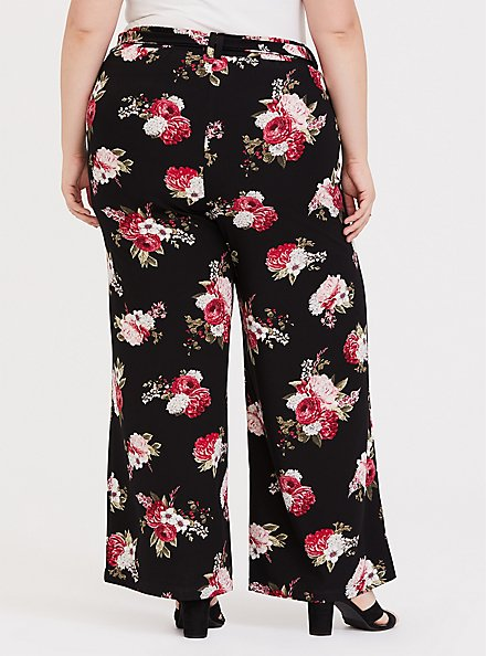 Plus Size Black Floral Crepe Self Tie Wide Leg Pant , FLORAL - BLACK, alternate