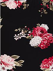 Plus Size Black Floral Crepe Self Tie Wide Leg Pant , FLORAL - BLACK, alternate