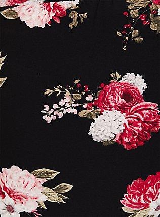 Wide Leg Tie Front Crepe Pant - Black Floral, FLORAL - BLACK, alternate