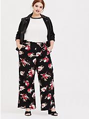 Black Floral Crepe Self Tie Wide Leg Pant , FLORAL - BLACK, hi-res