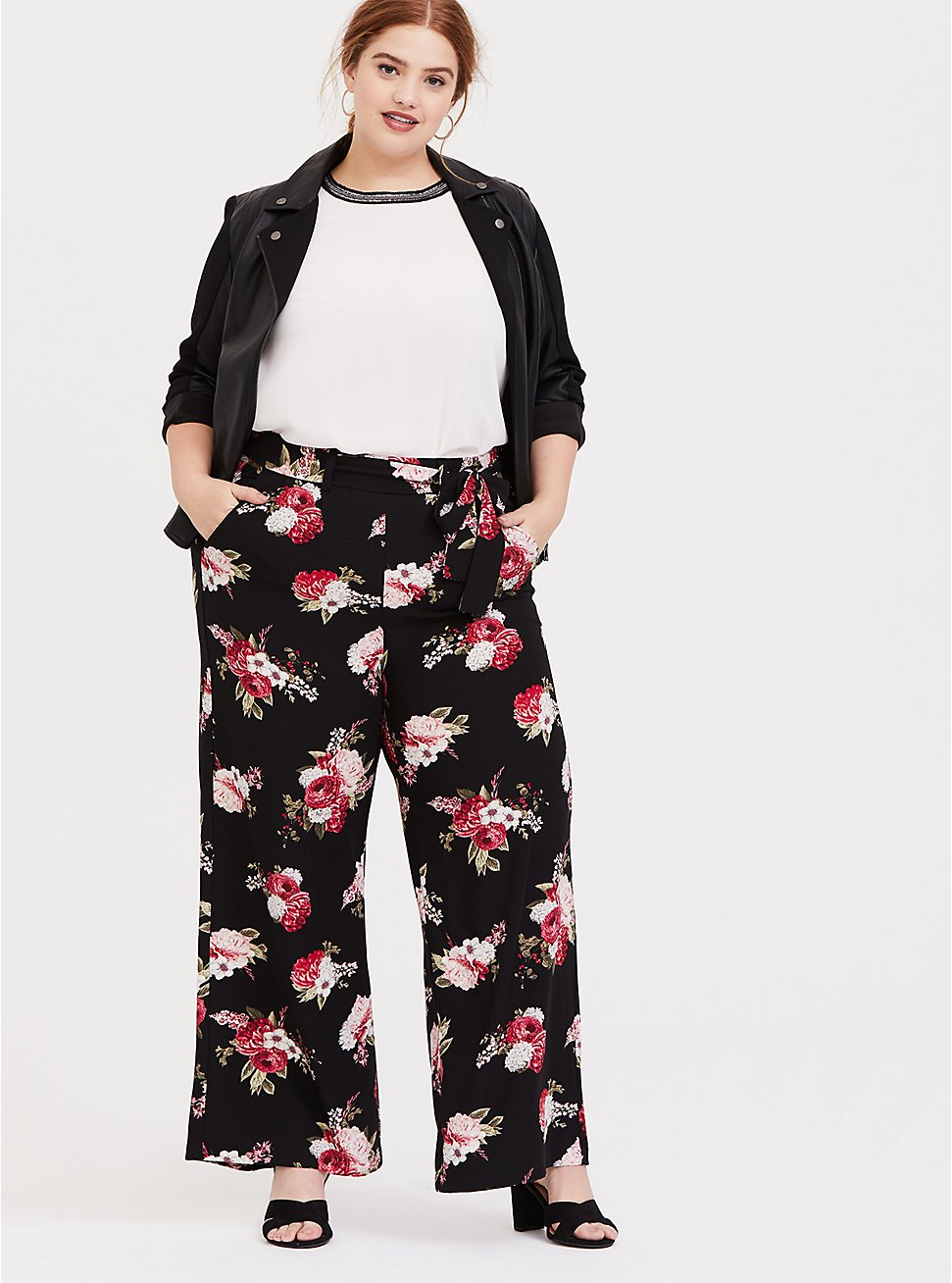 Plus Size Black Floral Crepe Self Tie Wide Leg Pant , FLORAL - BLACK, hi-res