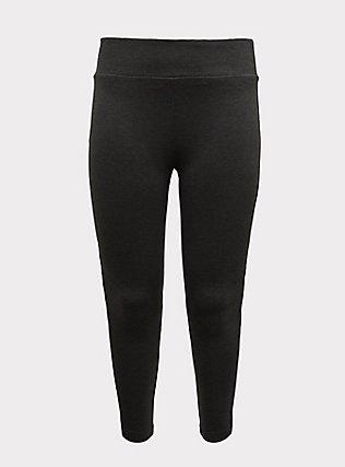 Studio Ponte Slim Fix Pull-On Pixie Pant - Fleece Lined Charcoal Grey, CHARCOAL HEATHER, flat