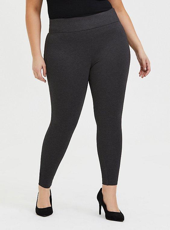 Plus Size Studio Ponte Slim Fix Pull-On Pixie Pant - Fleece Lined Grey, , hi-res