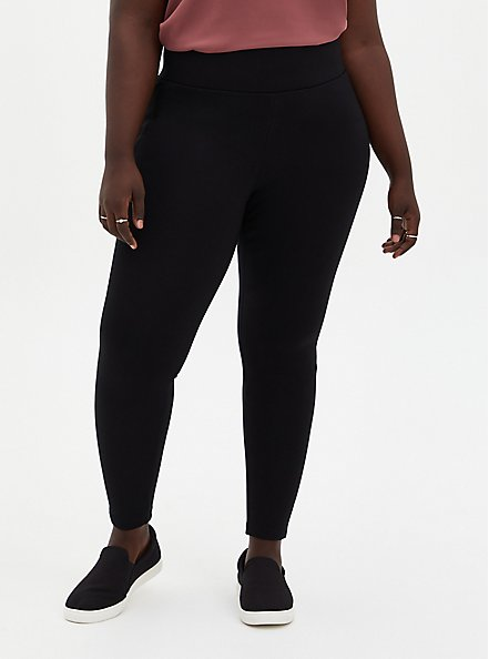 Plus Size Studio Brushed Ponte Slim Fix Black Pull-On Pixie Pant, DEEP BLACK, hi-res