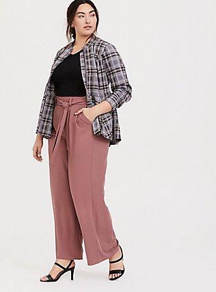 Wide Leg Tie Front Crepe Pant - Walnut, WALNUT, alternate