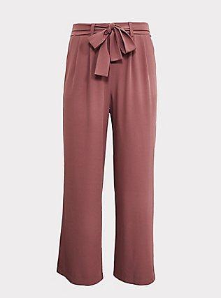 Wide Leg Tie Front Crepe Pant - Walnut, WALNUT, flat
