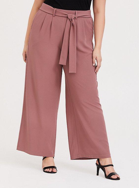 Plus Size Wide Leg Tie Front Crepe Pant - Walnut, , hi-res