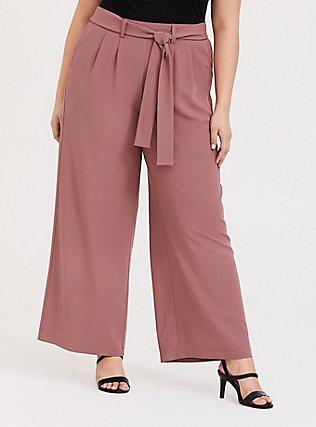 Wide Leg Tie Front Crepe Pant - Walnut, WALNUT, hi-res