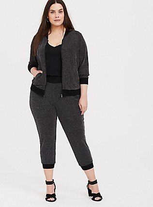Plus Size Black Sparkle Jogger, DEEP BLACK, hi-res