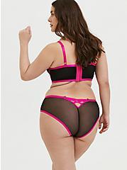 Hot Pink & Black Mesh Longline Underwire Bralette, RICH BLACK, alternate