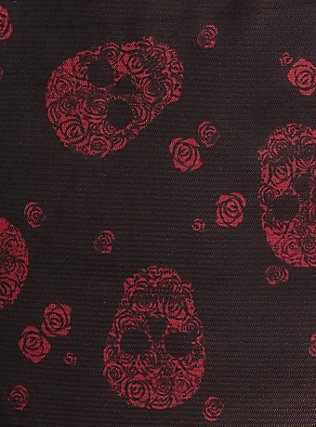 Plus Size Black & Red Floral Skull Lace Babydoll, RICH BLACK, alternate