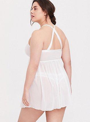White Lace & Mesh High Neck Keyhole Babydoll, CLOUD DANCER, alternate