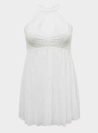 White Lace & Mesh High Neck Keyhole Babydoll, CLOUD DANCER, flat