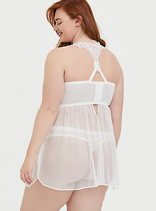 White Mesh & Lace Applique Underwire Babydoll , , alternate