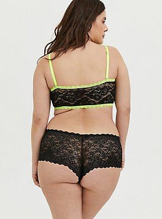 Plus Size Neon Yellow & Black Lace Bandeau, RICH BLACK, alternate