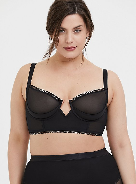Plus Size Black Mesh V-Wire Unlined Longline Underwire Bralette, , hi-res
