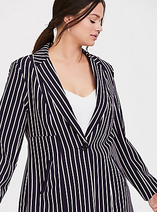 Deep Purple Pinstripe Twill Longline Blazer, STRIPES, alternate