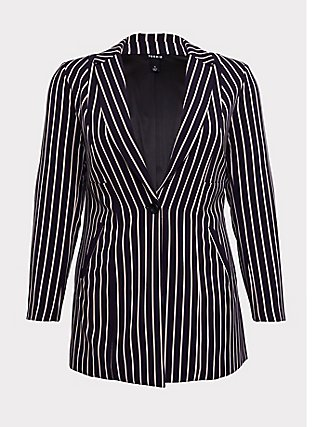 Deep Purple Pinstripe Twill Longline Blazer, STRIPES, flat