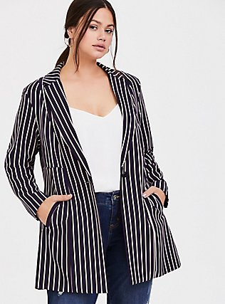 Plus Size Deep Purple Pinstripe Twill Longline Blazer, STRIPES, hi-res