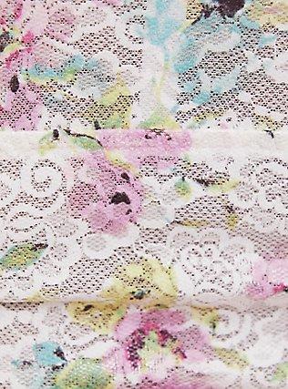 Plus Size White & Multi Floral Lace Bralette, , alternate