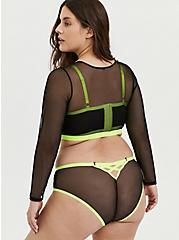 Neon Yellow & Black Mesh Long Sleeve Under-It-All Crop Top, RICH BLACK, alternate