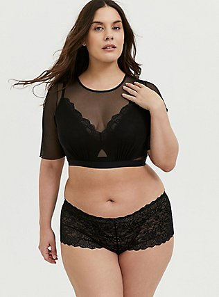 Plus Size Black Mesh Elbow Sleeve Under-It-All Crop Top, RICH BLACK, hi-res