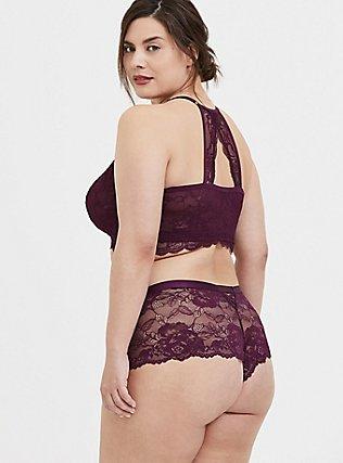 Grape Purple Lace Racerback Bralette, , alternate