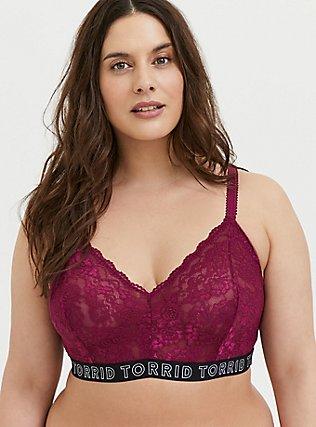 Plus Size Torrid Logo Berry Purple Lace Bralette, , hi-res