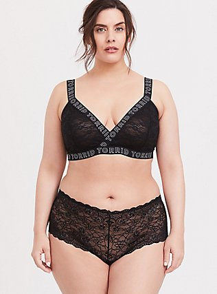 Plus Size Torrid Logo Black Lace Bralette, RICH BLACK, alternate