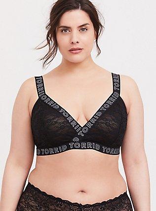 Plus Size Torrid Logo Black Lace Bralette, RICH BLACK, hi-res